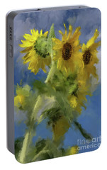 Portable Battery Charger featuring the photograph An Impression Of Sunflowers In The Sun by Lois Bryan