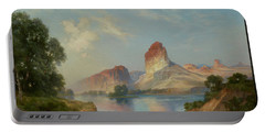 Portable Battery Charger featuring the painting An Indian Paradise , Green River, Wyoming by Thomas Moran