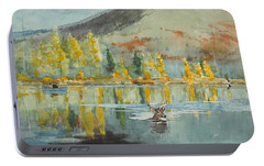 Portable Battery Charger featuring the painting An October Day by Winslow Homer