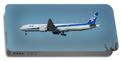 A N A Airplane J A 738 A  Boeing 777-381 Landing L A X Los Angeles International Airport Art Portable Battery Charger