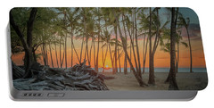 Portable Battery Charger featuring the photograph Anaehoomalu Beach Sunset by Susan Rissi Tregoning