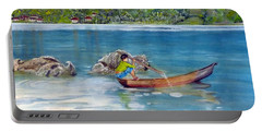 Portable Battery Charger featuring the painting Anak Dan Perahu by Melly Terpening