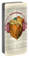 Anatomical Heart And Headphonesin Color  Portable Battery Charger