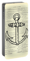 Anchor Black Lines Old School Illustration Portable Battery Charger