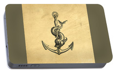 Portable Battery Charger featuring the drawing Anchor Vintage by Edward Fielding