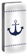 Anchor With Knot Border In Blue Portable Battery Charger