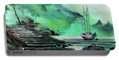 Portable Battery Charger featuring the painting Anchored by Anil Nene