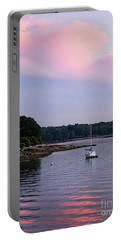 Portable Battery Charger featuring the photograph Anchored At Peaks Island, Maine  -07828 by John Bald