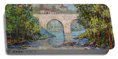 Portable Battery Charger featuring the painting Ancient Bridge by Lou Ann Bagnall