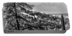 Portable Battery Charger featuring the photograph Ancient Walls Of Florence-bandw by Sonny Marcyan