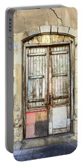 Ancient Wooden Door In Old Town. Limassol. Cyprus Portable Battery Charger