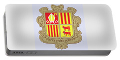 Portable Battery Charger featuring the drawing Andorra Coat Of Arms by Movie Poster Prints
