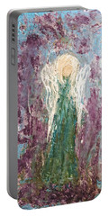 Angel Draped In Hydrangeas Portable Battery Charger
