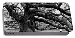 Angel Oak Tree 2009 Black And White Portable Battery Charger