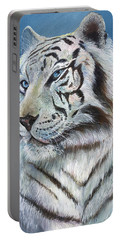 Portable Battery Charger featuring the painting Angel The White Tiger by Sherry Shipley