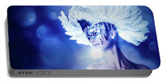 Portable Battery Charger featuring the photograph Angel Wings Venetian Mask With Feathers Portrait by Dimitar Hristov