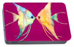 Angelfish Kissing Portable Battery Charger by Hailey E Herrera