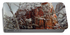 Angels Landing Under Snow Portable Battery Charger by Daniel Woodrum