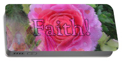 Portable Battery Charger featuring the photograph Angels Pink Rose Of Faith by Barbara Tristan
