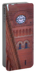 Angled View Of Clocktower At Dearborn Station Chicago Portable Battery Charger