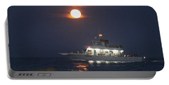 Angler Cruises Under Full Moon Portable Battery Charger
