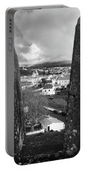 Portable Battery Charger featuring the photograph Angra Do Heroismo From Monte Brasil In Black And White by Kelly Hazel