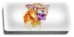 Portable Battery Charger featuring the mixed media Angry Lioness by Marian Voicu