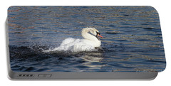 Angry Swan On The Water Portable Battery Charger by Michal Boubin