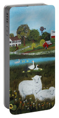 Portable Battery Charger featuring the painting Animal Farm by Virginia Coyle