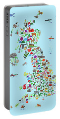 Animal Map Of Great Britain And Ni For Children And Kids Portable Battery Charger