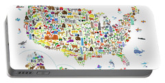 Animal Map Of United States For Children And Kids Portable Battery Charger