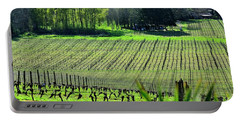 Portable Battery Charger featuring the photograph Anne Amie Vineyard Lines 23093 14x8 by Jerry Sodorff