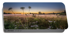 Portable Battery Charger featuring the photograph Anne's Lace On Misty Cavendish Meadows by Chris Bordeleau
