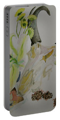 Portable Battery Charger featuring the painting Antelope Skull Pinecones And Lily by Beverley Harper Tinsley