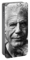 Portable Battery Charger featuring the drawing Anthony Bourdain - Ink Drawing by Rafael Salazar