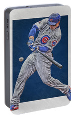 Anthony Rizzo Chicago Cubs Art 1 Portable Battery Charger by Joe Hamilton