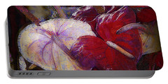 Portable Battery Charger featuring the photograph Anthuriums For My Valentine by Lori Seaman