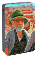 Portable Battery Charger featuring the painting Antibes Self by Gary Coleman