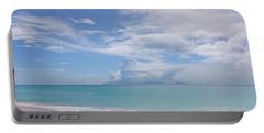 Antigua Beach View Of Montserrat Volcano Portable Battery Charger