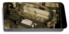 Antique Laundry Ringer And Handmade Lye Soap In Sepia Portable Battery Charger