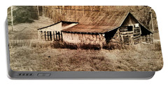 Antique Log Beam Barn Southern Indiana Portable Battery Charger by Scott D Van Osdol