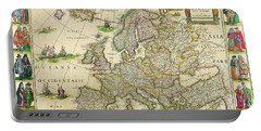 Antique Maps Of The World Map Of Europe Willem Blaeu C 1650 Portable Battery Charger