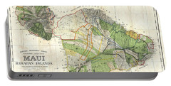 Antique Maps - Old Cartographic Maps - Antique Map Of Maui, Hawaii, 1885 Portable Battery Charger