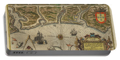 Antique Maps - Old Cartographic Maps - Antique Map Of Portugal -  Portuguese Coast Portable Battery Charger