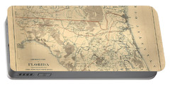 Antique Maps - Old Cartographic Maps - Antique Map Of The Northern Part Of Florida, 1864 Portable Battery Charger
