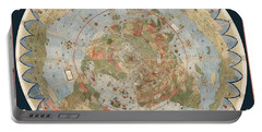 Antique Maps - Old Cartographic Maps - Flat Earth Map - Map Of The World Portable Battery Charger