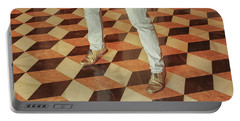 Portable Battery Charger featuring the photograph Antique Optical Illusion Floor Tiles by Patricia Hofmeester