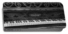 Antique Piano Black And White Portable Battery Charger