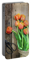 Portable Battery Charger featuring the photograph Antique Scissors And Bouguet Of Tulips by Stephanie Frey