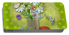 Antique Tin Of Flowers Portable Battery Charger by Larry Bishop